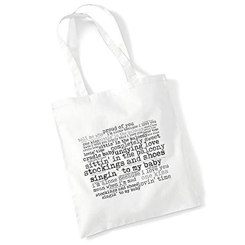 Art Studio Tote Bag - EDDIE CHOCHRAN - Singin'To My Baby - '56 Continental - Music Lyrics Album Art Print Poster Beach Gym Festival Shopper Gift