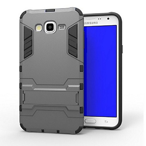 Heartly Graphic Designed Stand Hard Dual Rugged Armor Hybrid Bumper Back Case Cover For Samsung Galaxy J7 SM-J700F Dual Sim - Metal Grey