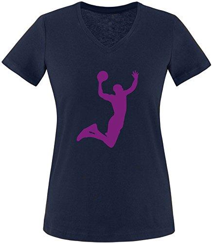 EZYshirt® Basketball | Slam Dunk Damen V-Neck T-Shirt Navy/Violett