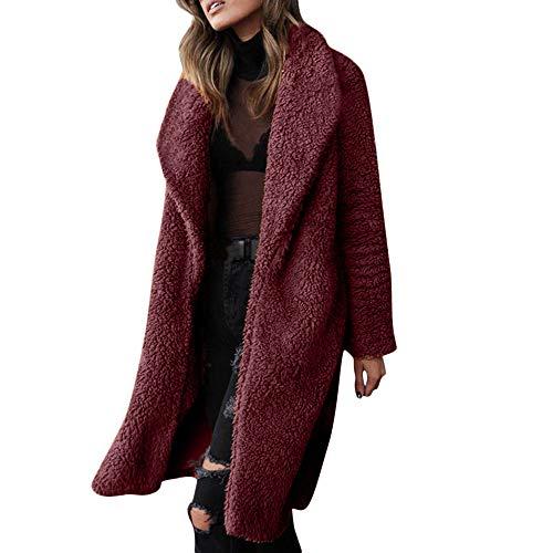 Strickjacke Damen Lang Dasongff Plüschjacke Wolljacke Kunstfell Mantel Jacke Essential Hooded Down Coat Revers Winter Oberbekleidung Casual Lapel Trenchcoat -