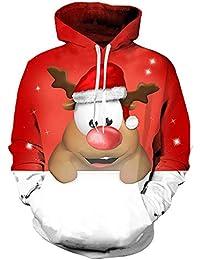Weihnachten Christmas MEIbax Unisex 3D Printed Abend Party Pullover Langarm-Kapuzenpulli Bluse Weihnachtskostüm Sankt Drucken Urlaub Humor Langarm T-Shirt Xmas Tops