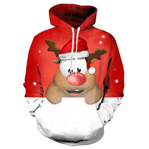 Weihnachten Kapuzenpullover Unisex, 3D Druck Langarm-Kapuzenpulli Herren Weihnachten Thema Sweatshirt Freizeit Lustiges Jumper Pullover (A,EU 44/CN M