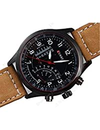 Iveera Analogue Black Dial Leather Strap Watch For Men | IV-Curren-Temp-BR
