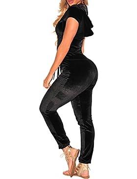SOMTHRON Mujer Pantalones Largos de Terciopelo con Cuello en V de Manga Larga con Cremallera de Cintura Alta Bodycon...