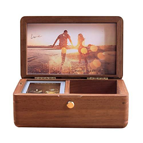 Bofum Personalisierte Vintage Handkurbel Holz Spieluhr, Schmuckschatulle, Foto Geschenk anpassen, Spieluhr Mechanismus, Frauen Mädchen