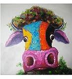 Fokenzary - tela decorativa moderna, multicolore, dipinta a mano, motivo mucca/toro, stile pop art, incorniciata e pronta da appendere, Tela, Multicolor, 24x24in