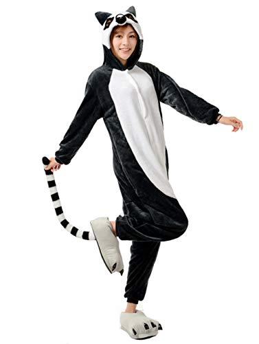 ZBSPORT Kat Erwachsene Unisex Jumpsuits, Kostüm Tier Onesie Nachthemd Schlafanzug Kapuzenpullover Nachtwäsche Cosplay Xmas Halloween (Asian Halloween-kostüme Für Erwachsene)