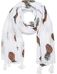 93fbb25a303b styleBREAKER Foulard avec imprimé ananas et glands, écharpe, paréo, femmes  01016163