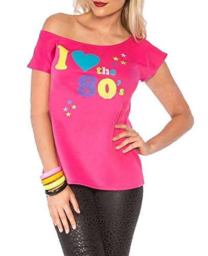 Deluxe I Love The 80's Damen T-Shirt Pop Star Pink Top-Kostüm Sexy Retro #klein (Disco Themed Kostüme)