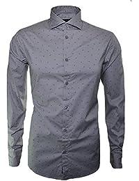 Armani Jeans Men's Grey Scattered Eagle Logo Shirt