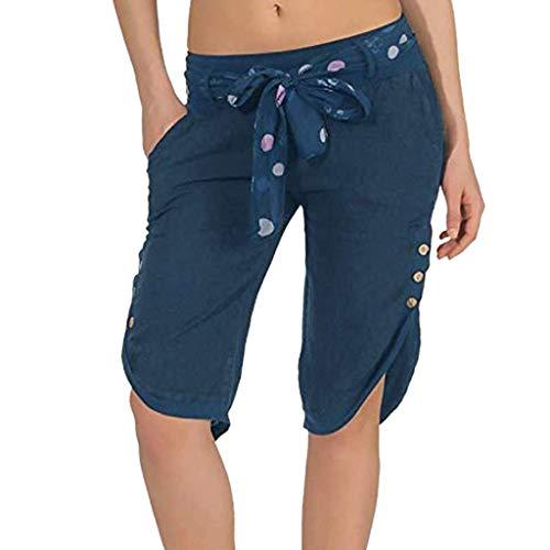 KIMODO® Damen elastische Taille Shorts Baggy weites Bein Hose Einfarbig lose Sport Yoga Sommer Freizeithose