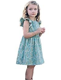 Sonnena princesa vestido,ninas Bohemian flor impresión vestido de sin manga lindo tutú vestido de fiesta de la princesa de…