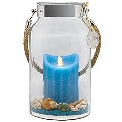 Idea Regalo - Idea regalo Dekovita 30cm Decoglass LED Cera Candela blu reale con fiamma in movimento e Deco-Sand Pasqua Compleanno della Festa della Mamma