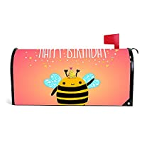 "wendana Happy Birthday Card Background With A Bee Mailbox Cover Magnetic Vinyl Home Garden Decor Mailbox Wrap Post Letter Box Cover 18""x21"""