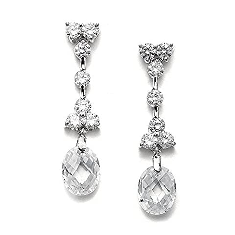 Mariell CZ Wedding Earrings with Unique Faceted Swarovski Crystal Oval-Shaped Drops - Platinum Plated by Mariell