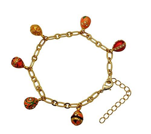 Rothschild Hat (Schönes Silberarmband aus sehr Bunt 6 Eier Stil Fabergé Swarovski Elements-Charms mit Furnier, Gelb, 24K Gold)