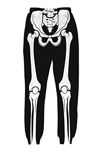 Belovecol Unisex 3D Digital Print Halloween Skelett Sport Jogging Pants Casual Sweatpants