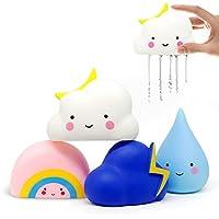 Amteker Juguetes de Baño, Baño Tiempo Diversión para Bebé, 4 Packs (Lluvia,