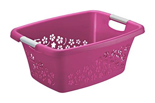 Rotho Wäschekorb Flowers Kunststoff/Plastik (PP) in Pink/Weiss | Gr. M, Inhalt ca. 25 Liter - Diverse Größen auswählbar (LxBxH) ca. 50.5x38x22 cm Moderner Wäschesammler 1756590001