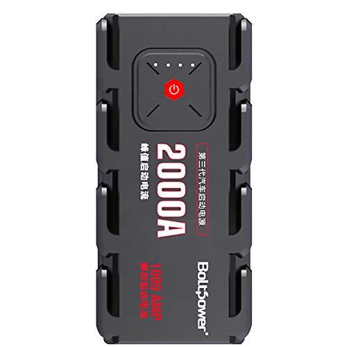 1500A Spitzenstrom Auto Starthilfe,15000mAh Tragbare Autobatterie Anlasser Sofort Starthilfe Externer Akku Ladegerät mit 2 USB Ausgänge,LED Taschenlampe,für Notfall Car Jump Starter -