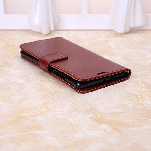 Wkae Case Cover Huawei caso Mate S, Cuoio folio modello di colore solido caso di stile di disegno del raccoglitore magnetico della copertura di vibrazione della copertura della cassa standup per Huawe Brown