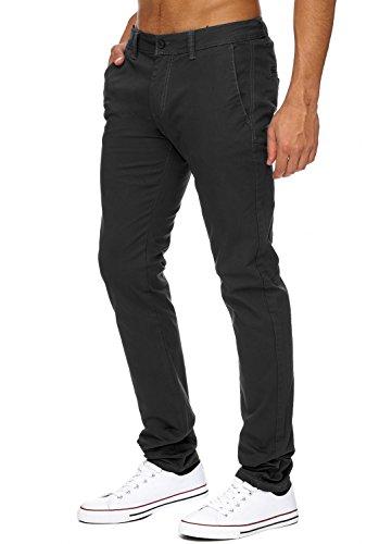 Uomo chinos | (Vestibilità slim) pantaloni estivi leggeri Jeans Chino in tessuto elasticizzato con una gamba dritta (gamba dritta) | H1736 in qualità di marca Antracite