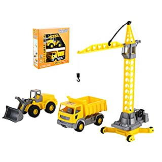 Polesie Polesie57150 Construction Machinery Set, (Box|) -Toy Vehicless-3-Pieces, Multi Colour