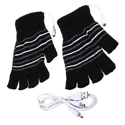 Unisexe Winter USB électrique Gants Noir à Rayures sans Doigts Chauffage chauffé à Tricoter Mains au Chaud Gants Ordinateur Portable la Chaleur Gant Moufles