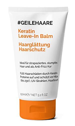 Haar-produkte Frizz (#GEILEHAARE Keratin Kur für Haarglättung & Hitzeschutz - Leave-In Balm - Anti-Frizz und Anti-Haarbruch - Glättet das Haar und schützt vor äußeren Einflüssen - Made in Germany - 150 ml)