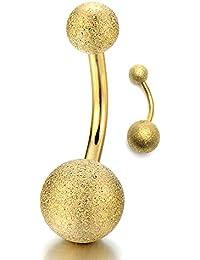Color Oro Satinadoado Acero Quirúrgico Joyas para el Cuerpo Piercing Ombligo Vientre Botón Anillo Barbells