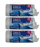 Müllbeutel mit Tragegriff - 20 Liter - Reißfest & Flüssigkeitsdicht - 3er Pack - 120 Stück ( 3 x 40 Stück) - Produkt & Verpackung recyclebar-