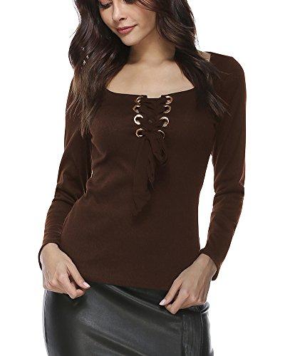 ShiFan T-Shirt Manica Lunga Donna Eleganti Camicia Magliette Casual Camicetta Slim Fit Camicie Caffè