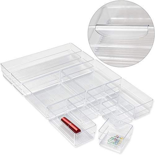 Hausfelder ORDNUNGSLIEBE Schubladen Organizer Ordnungssystem - Aufbewahrung für Küche Büro Schminktisch Kosmetik, variabel und transparent aus Kunststoff (10-teilig inkl. Verbinder) (Kosmetik Küche)