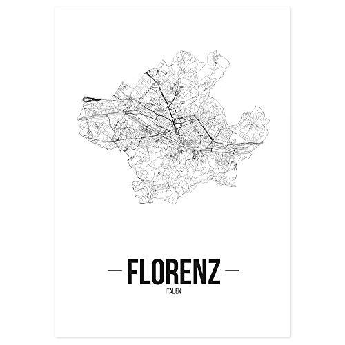 JUNIWORDS Stadtposter - Wähle Deine Stadt - Florenz - 40 x 60 cm - Schrift B - Weiß