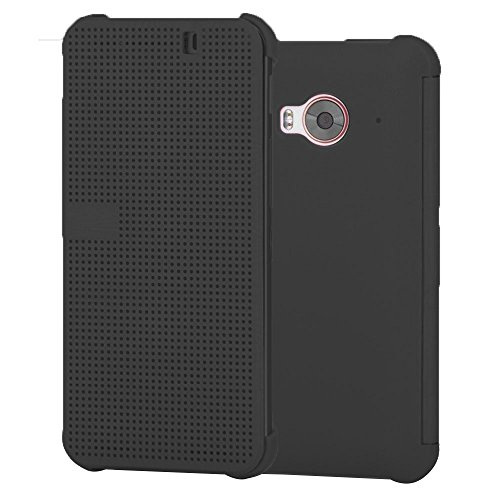 Heartly Dot View Touch Sensative Flip Thin Hard Shell Premium Bumper Back Case Cover For HTC One ME Dual Sim - Retro Grey