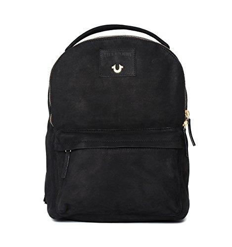 True Religion Black Nubuck Backpack-ONE SIZE