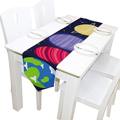 Yushg Mercury Travel Around Planet Dresser Schal Stoffbezug Tischläufer Tischdecke Tischset Küche Esszimmer Wohnzimmer Home Hochzeitsbankett Dekor Indoor 13x90 Zoll