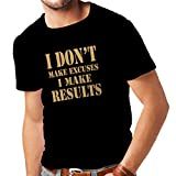 T shirts for men .. I make results - lose weight fast quotes and muscle builder motivational sayings (Large Black Gold)