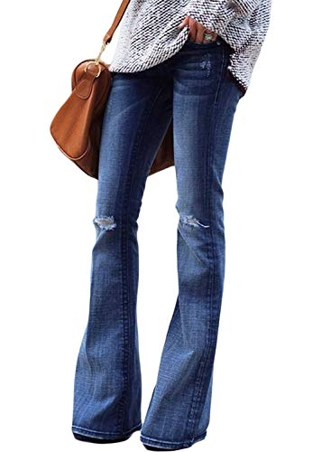 Aleumdr jeans donna a zampa di elefante jeans donna elasticizzati svasati classici slim fit jeans donna strappati
