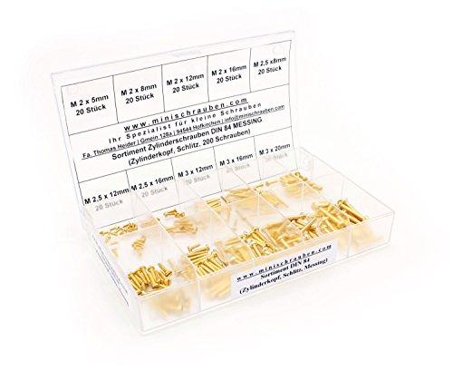 Sortimentskasten mit 200 Stück kleinen Zylinderschrauben nach DIN 84 aus Messing (M2, M2,5 und M3), Schlitz, Zylinderkopf. Minischrauben Sortiment inkl. beschrifteter Box (Messing Sortiment)