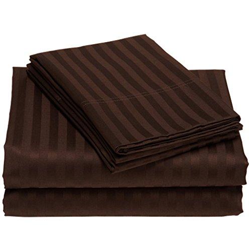 100% ägyptische cotton600TC 1Stück UK King Size Bettbezug Größe Schokolade Braun Farbe Streifen Muster (Schokolade Braun Bettbezug)