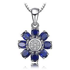 Idea Regalo - JewelryPalace Donna Gioiello 4.6ct Sintetico Zaffiro Ciondolo di Fiore 925 Argento Sterling Collana 45cm
