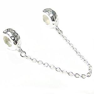 Distanzhalter mit gummierter Innenseite, gehämmertes Design, Sterling Silber für europäische Charm-Armbänder