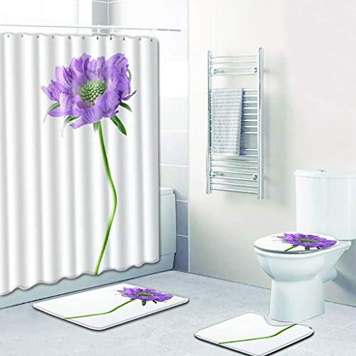 Liqiqi Tulpe Blumen Duschvorhang Badematten Set 4 Stück Toiletten Abdeckung Bad WC Sockel Teppich + Deckel Wc-Abdeckung + Badematte Anti Schimmel Badezimmer Dusche Vorhang (Dusche Vorhang Badezimmer-set)
