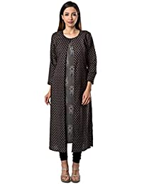 Bright Cotton Long Kurtis For Women Printed Kurta Top Jacket Asymmetrical BCOWN-028-V