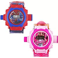 selloria Digital 24 Images Projector Pink and Blue Dial Boy's and Girl's Watch Combo