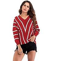 Tefamore Suéter Jerseys de Punto Mujeres Puntadas Manga Larga Cuello En V Punto Jerséy Pullover Tops Suelta Otoño e Invierno Rayas Impresión