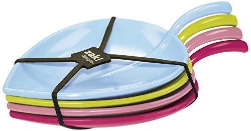 Zak Designs 2174-4411 FULLA - Assiette de dégustation Feuille 13cm - Sorbet, Mélamine, Rouge, 45x35x25 cm
