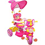 EHomeKart Tricycle For Kids With Music, Parental Control Handle And Canopy - TISCON Deluxe Baby Cycle - With Front And Rear Storage Basket - For Boys And Girls (1 Year - 4 Years)
