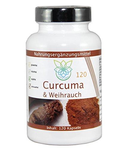 VITARAGNA Curcuma & Weihrauch 120 Kapseln Qualitätsprodukt mit Kurkuma-Extrakt und Weihrauch-Extrakt mit Hartgelatine-Kapseln (clean, glutenfrei, sojafrei, milchfrei, erdnussfrei, zuckerfrei)